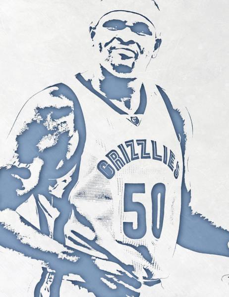 Memphis Grizzlies Wall Art - Mixed Media - Zach Randolph Memphis Grizzlies Pixel Art by Joe Hamilton