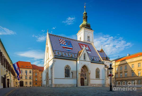 Photograph - Zagreb St Mark's Church by Inge Johnsson