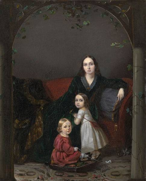 Painting - Zakharov  Petr 1816  1846  Portrait Of Anna Grigorievna Ermolova With Her Children by Artistic Panda