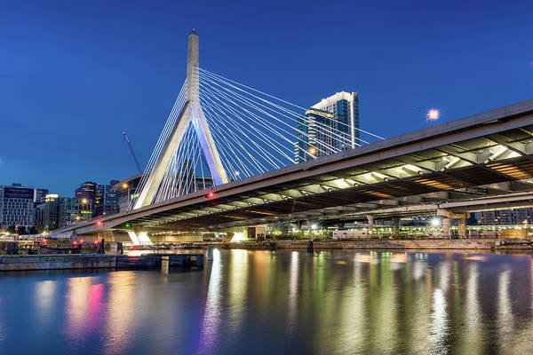 Zakim Bridge And Charles River Art Print