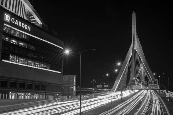 Photograph - Zakim Bridge And Td Garden Boston Ma Long Exposure Black And White by Toby McGuire