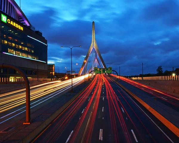 Photograph - Zakim Bridge And Td Garden Boston Ma by Toby McGuire