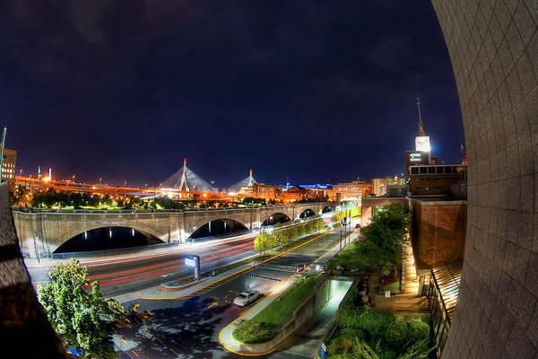 Photograph - Zakim Bridge At Night - Boston Cityscape by Joann Vitali