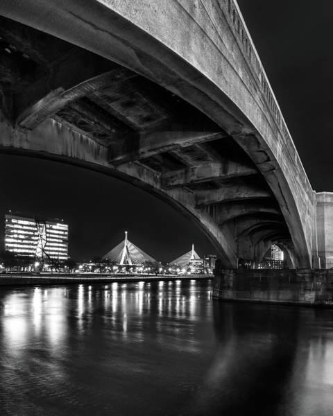 Photograph - Night Reflections At Zakim Bridge by Kristen Wilkinson
