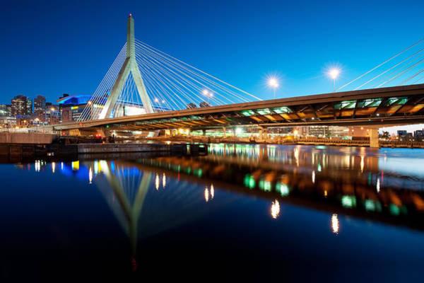Charles Bridge Photograph - Zakim Bridge At Twilight by Jeff Bazinet
