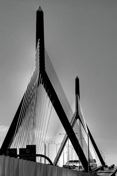 Photograph - Zakim Bridge Black And White - Boston by Joann Vitali