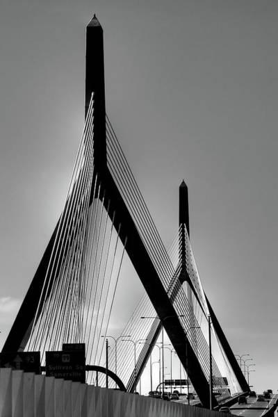 Photograph - Zakim Bridge Black And White - Boston by Joann Vitali