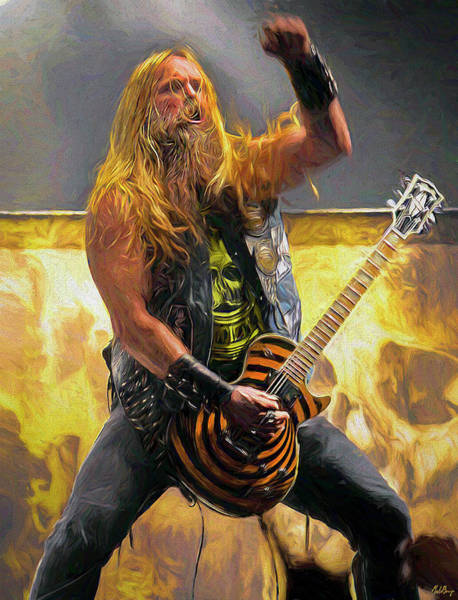 Jeff Hanneman Wall Art - Mixed Media - Zakk Wylde by Mal Bray