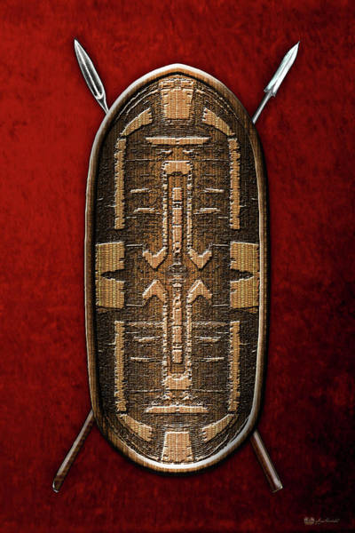 Tribal Digital Art - Zande War Shield With Spears On Red Velvet  by Serge Averbukh
