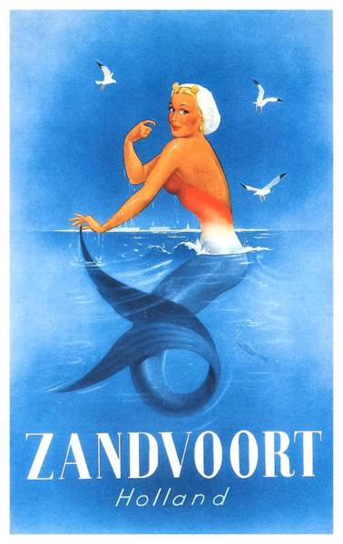 Holland Digital Art - Zandvoort Holland Mermaid Travel Poster by Retro Graphics
