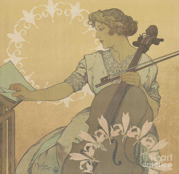 Cellist Painting - Zdenka Cerny by Alphonse Marie Mucha