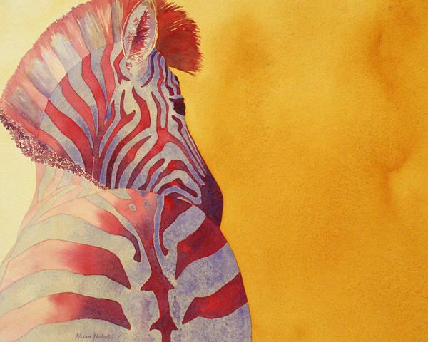 Animal Watercolor Wall Art - Painting - Zebra by Alison Nicholls