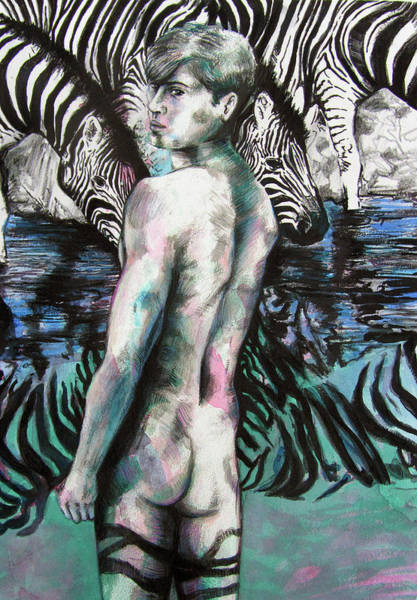 Painting - Zebra Boy Looking Back by Rene Capone