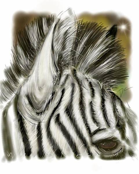 Digital Art - Zebra Digital by Darren Cannell