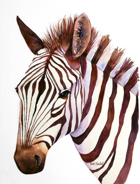 Zebra Painting - Zebra Face by Renee Chastant
