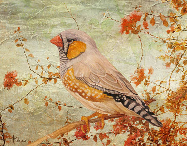 Almond Painting - Zebra Finch Among Almond Trees by Angeles M Pomata