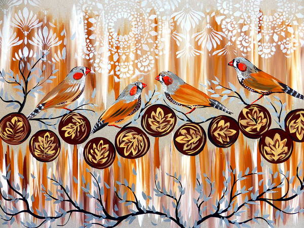 Twitcher Wall Art - Painting - Zebra Finches And Coffee Art by Cathy Jacobs