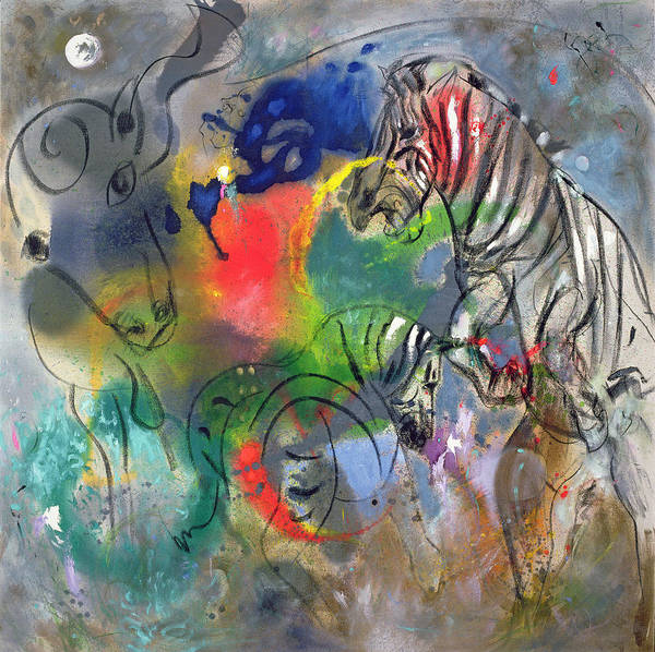 Semi Abstract Painting - Zebra Mares by Jane Deakin