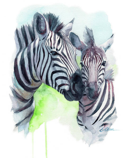 Snuggle Painting - Zebra Mom And Baby by Emily Olson