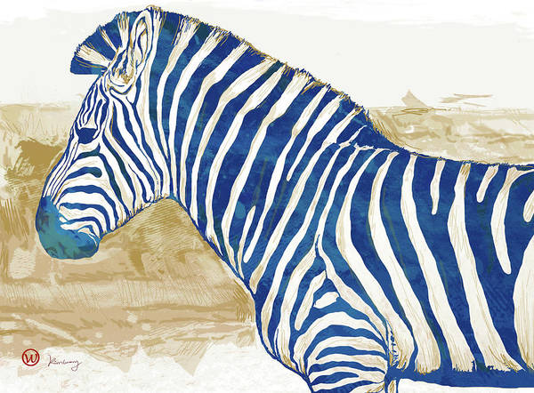 Wall Art - Mixed Media - Zebra - Stylised Pop Art Poster by Kim Wang