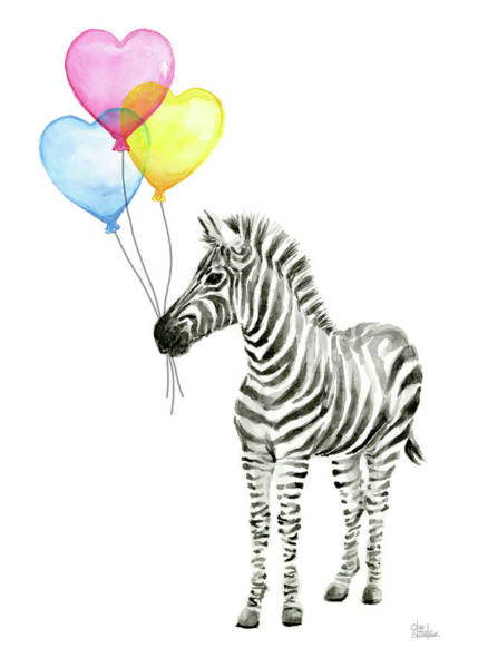 Zebra Painting - Baby Zebra Watercolor Animal With Balloons by Olga Shvartsur