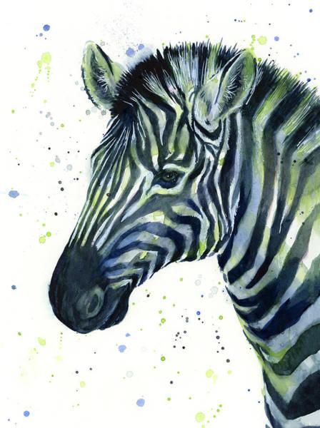 Seattle Seahawks Wall Art - Painting - Zebra Watercolor Blue Green  by Olga Shvartsur