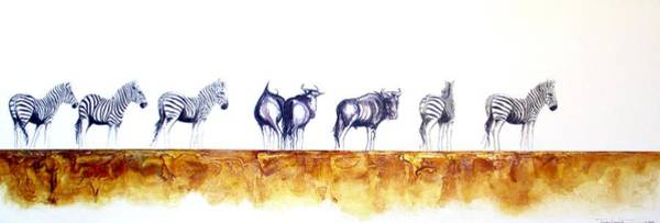 Painting - Zebras And Wildebeest 2 by Tracey Armstrong