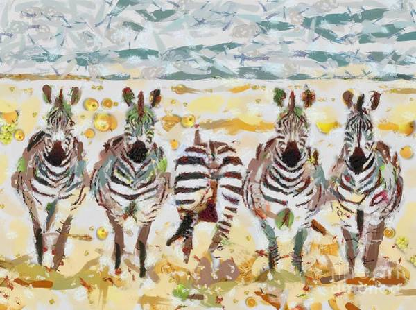 Painting - Zebras Maaarty Fragmented by Catherine Lott
