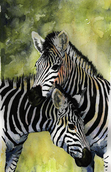 Fur Painting - Zebras by Roger Bonnick
