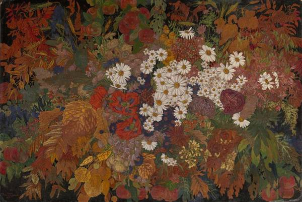 Painting - Zemlyanitsyna  Elena  1889 1941  Autumn Bouquet by Artistic Panda