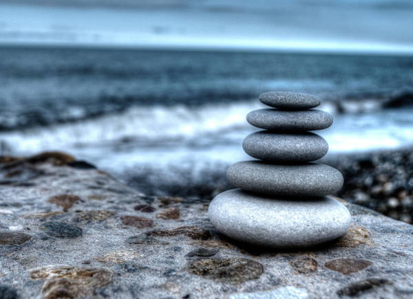 Photograph - Zen Balancing Stones And Sea by John Williams