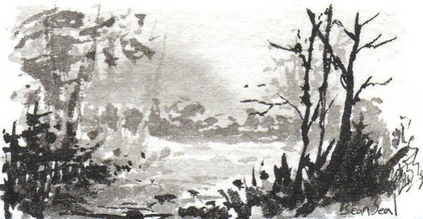 Painting - Zen Ink Landscape 3 by Sean Seal