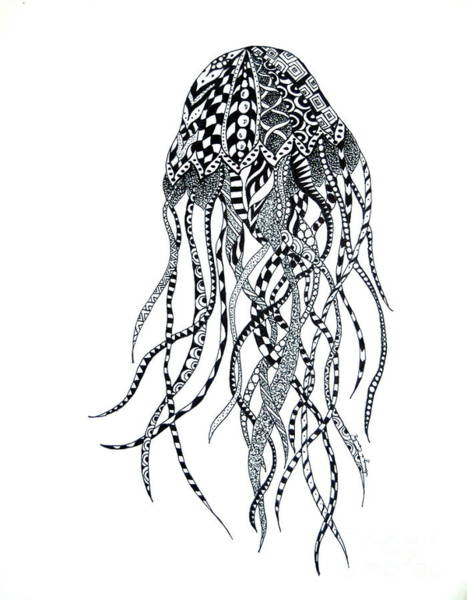 Drawing - Zen Jellyfish by Tamyra Crossley
