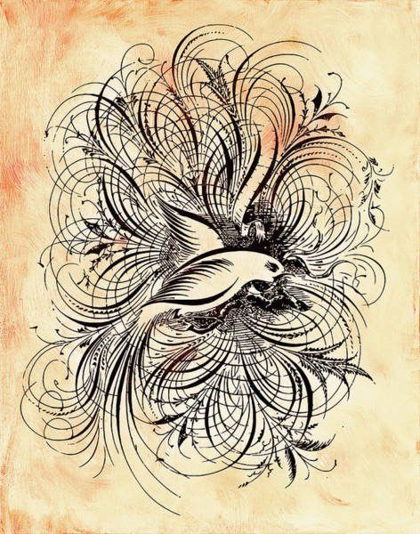 Dove Digital Art - Zen Ornamental Dove Minimalism by Georgiana Romanovna