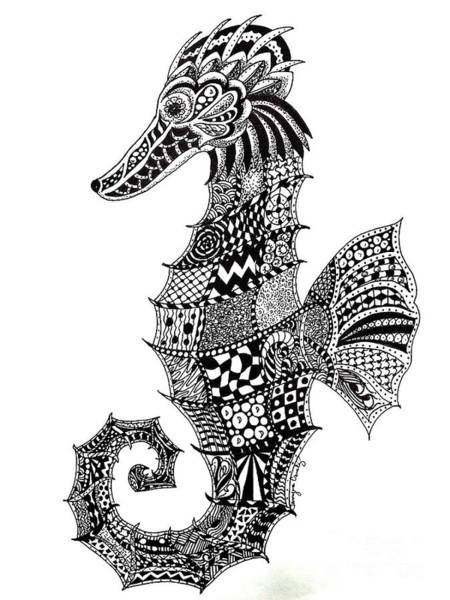 Drawing - Zen Seahorse by Tamyra Crossley
