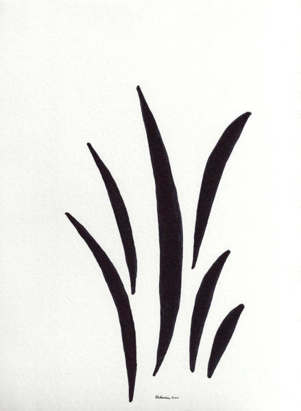 Mixed Media - Zen Sumi 1a Black Ink On Watercolor Paper By Ricardos by Ricardos Creations