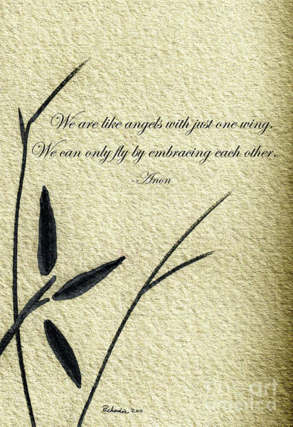 Zen Sumi 4d Antique Motivational Flower Ink On Watercolor Paper By Ricardos Art Print