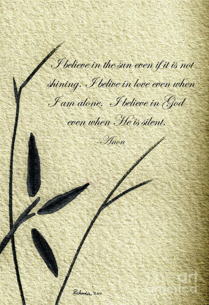 Mixed Media - Zen Sumi 4e Antique Motivational Flower Ink On Fine Art Watercolor Paper By Ricardos by Ricardos Creations