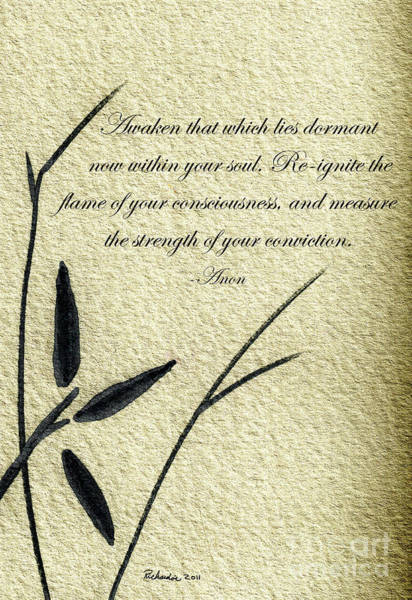Mixed Media - Zen Sumi 4f Antique Motivational Flower Ink Ricardos by Ricardos Creations