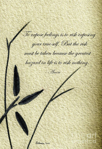 Mixed Media - Zen Sumi 4m Antique Motivational Flower Ink On Watercolor Paper By Ricardos by Ricardos Creations