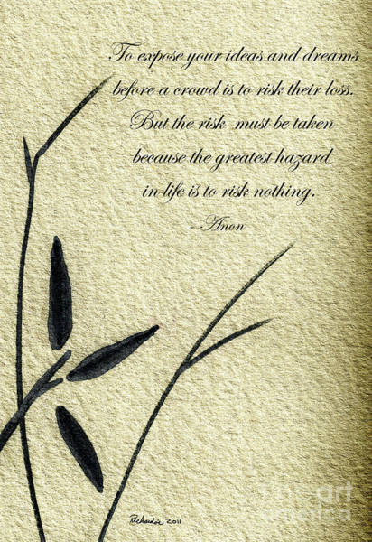 Mixed Media - Zen Sumi 4n Antique Motivational Flower Ink On Watercolor Paper By Ricardos by Ricardos Creations