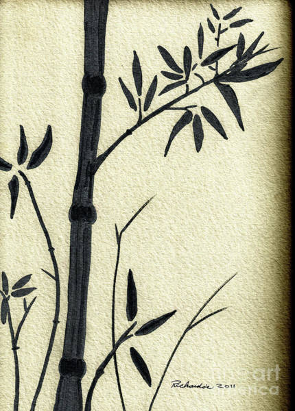 Zen Sumi Antique Bamboo 1a Black Ink On Fine Art Watercolor Paper By Ricardos Art Print
