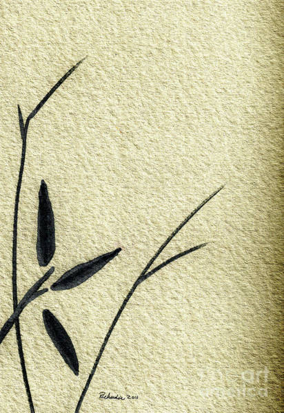 Mixed Media - Zen Sumi Antique Flower 4a Ink On Watercolor Paper By Ricardos by Ricardos Creations