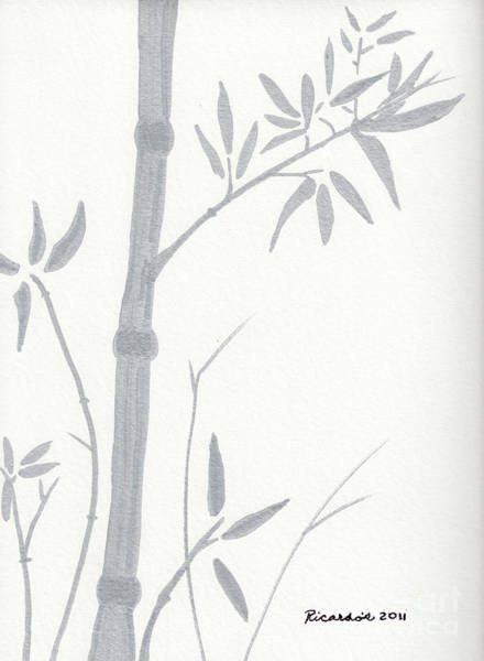 Drawing - Zen Sumi Bamboo 1a Ink On Watercolor Paper By Ricardos by Ricardos Creations