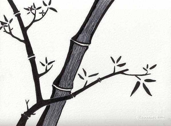 Drawing - Zen Sumi Bamboo 2a Black Ink On Watercolor Paper By Ricardos by Ricardos Creations