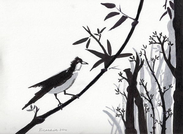 Drawing - Zen Sumi Bird 1a Black Ink On Watercolor Paper By Ricardos by Ricardos Creations