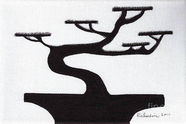 Mixed Media - Zen Sumi Bonsai Tree 1a Black Ink On Canvas By Ricardos by Ricardos Creations