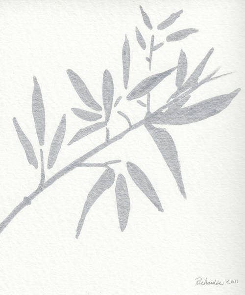 Drawing - Zen Sumi Botanical 4a Ink On Watercolor Paper By Ricardos by Ricardos Creations