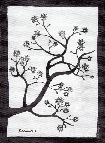 Mixed Media - Zen Sumi Bush Original Black Ink On White Canvas Ricardos by Ricardos Creations