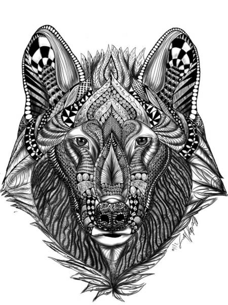 Drawing - Zendoodle Wolf by Becky Herrera
